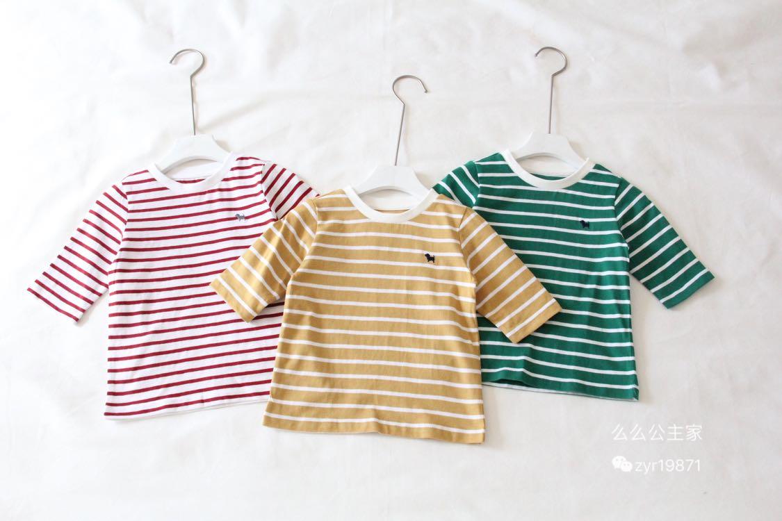2019秋款v女童韩国女童品牌条纹高端七分袖T恤