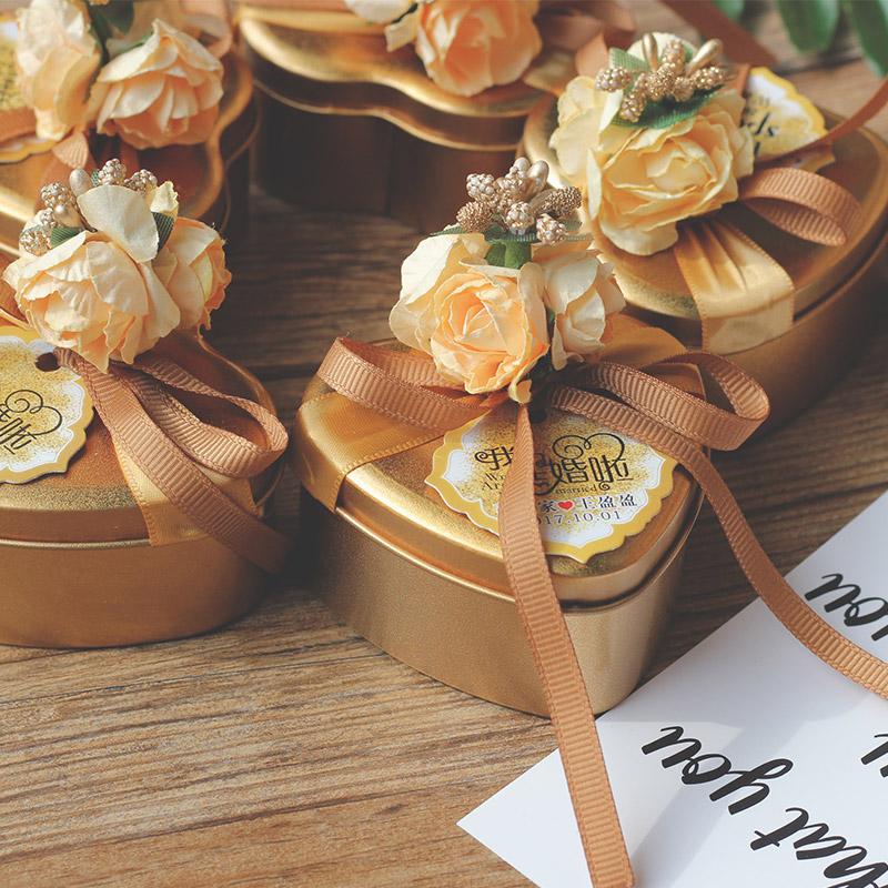 马口铁创意喜糖盒子结婚2018新款婚礼帖盒铁盒喜糖礼盒成品含糖