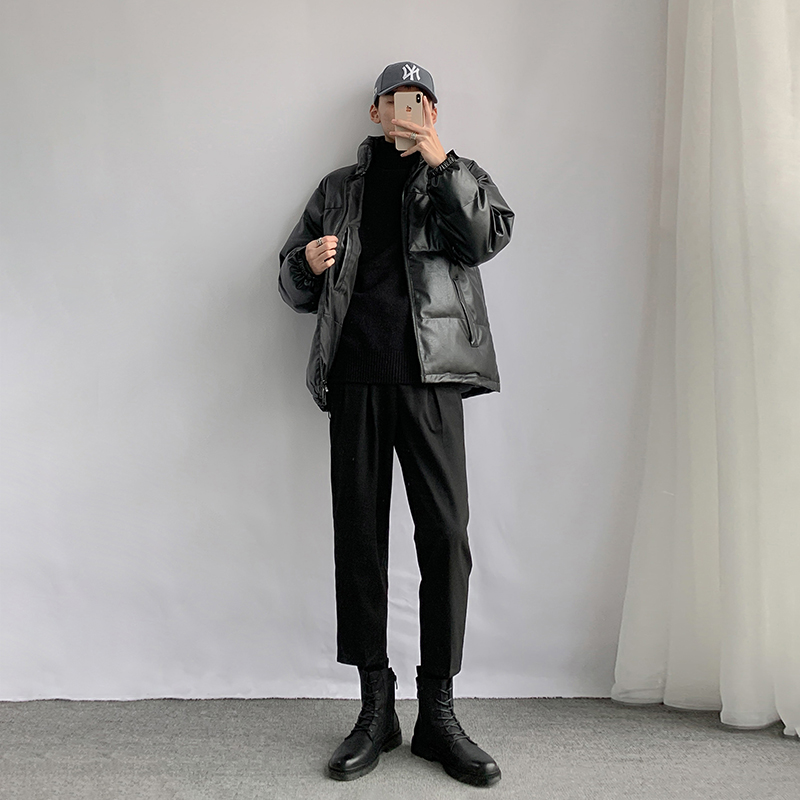 Winter pu leather material thick fabric Korean version of loose large size riding wild black cotton coat cotton