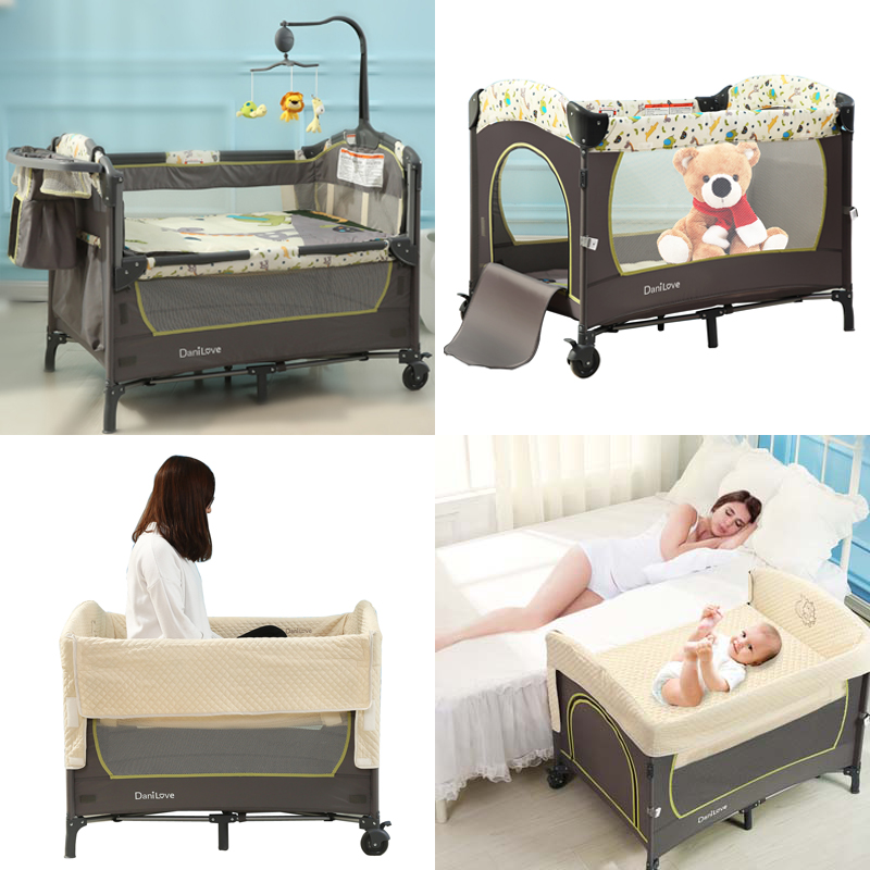 American Danilove Portable Crib Folding Newborn Multifunctional Game Bed BB  Bed Splicing Bed