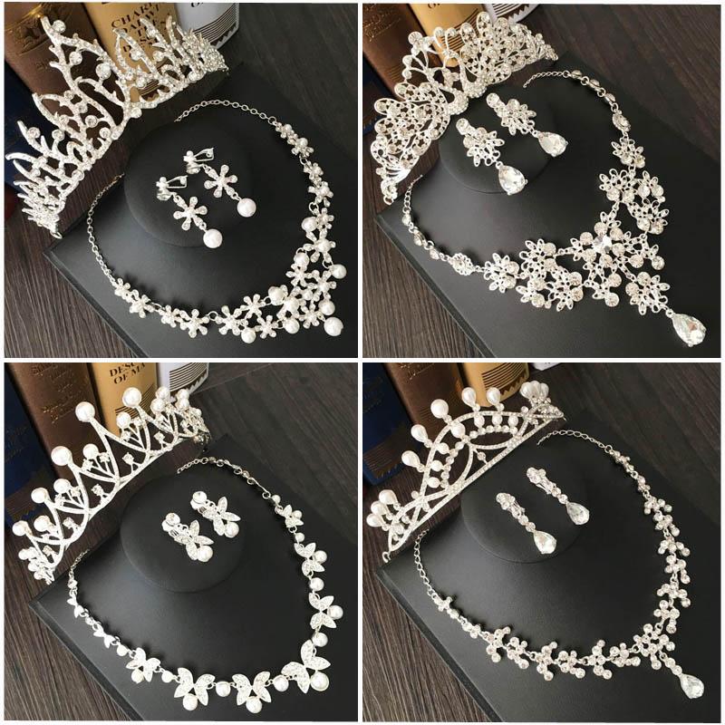 新娘头饰婚纱配饰发饰皇冠结婚礼饰品三件套韩式水钻项链耳环套装