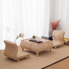 Bay window table tatami coffee table set Japanese style rattan straw storage storage window table tatami table and chair combination
