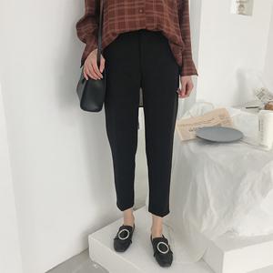 9211 实拍 2018新款韩版学生九分裤 烟管西装裤 女