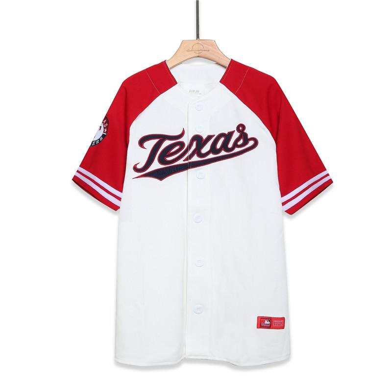 嘻哈大码短袖男女款刺绣潮牌拼色美式宽松情侣街舞服棒球T恤