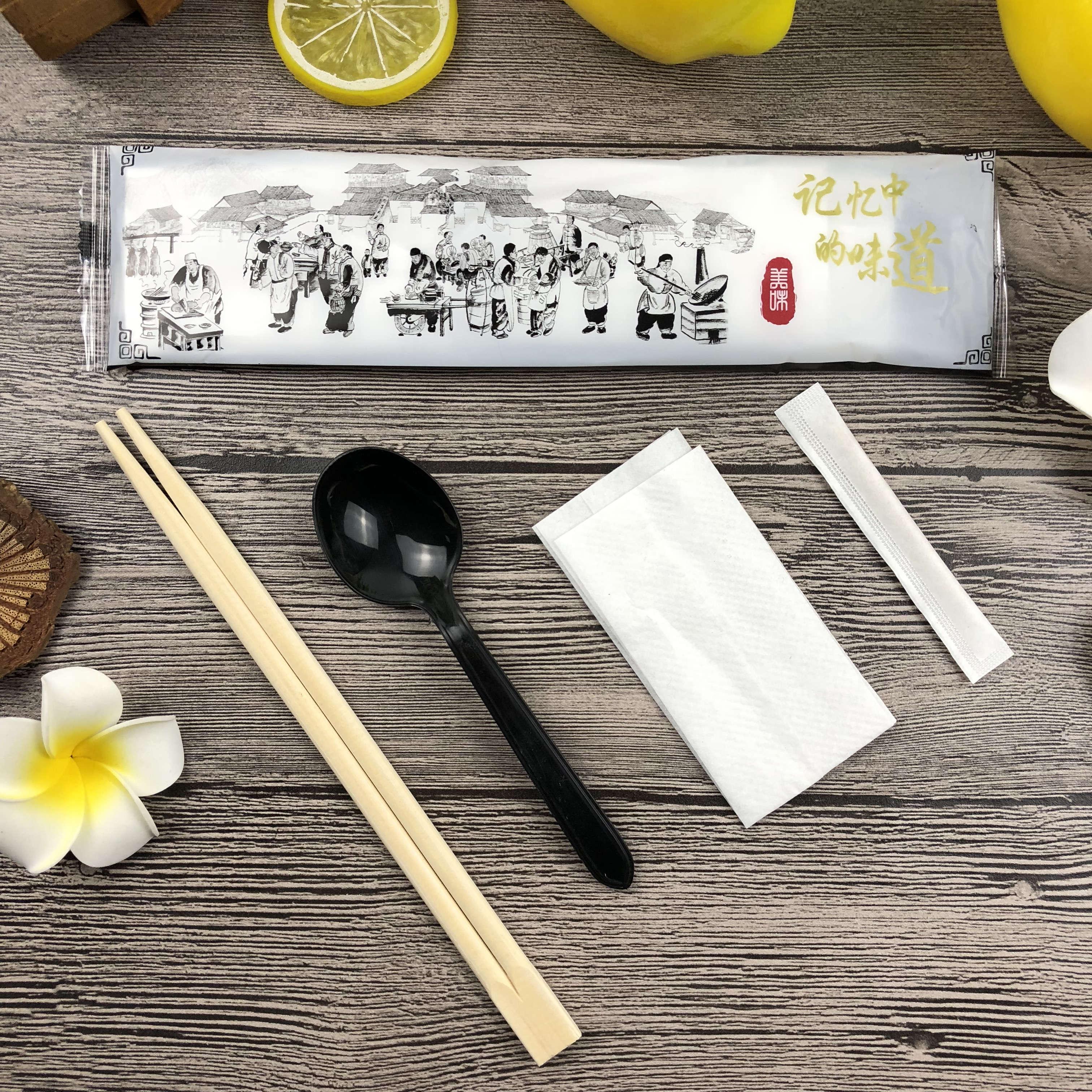 一次性筷子四件套四合一餐具包套装外送打包快餐酒店订做定製详细照片
