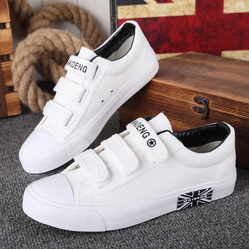 春季初中学生10运动鞋男12球鞋15岁休闲帆布鞋大童男孩板鞋魔术贴