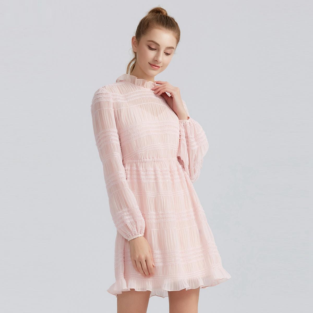 FIVEPLUS2019新款女荷叶春装连衣裙高腰两短裙装雪纺边长袖件套