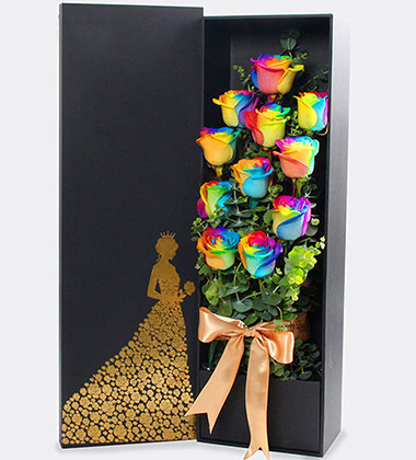 上海-彩虹玫瑰花盒
