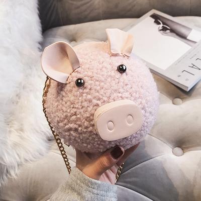 可爱小包包女 新款潮韩版手提小猪包少女小挎包链条毛绒单肩包