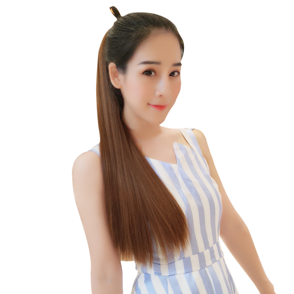 Wig Female Long Curly Hair Band Style Highlights Color Ponytail