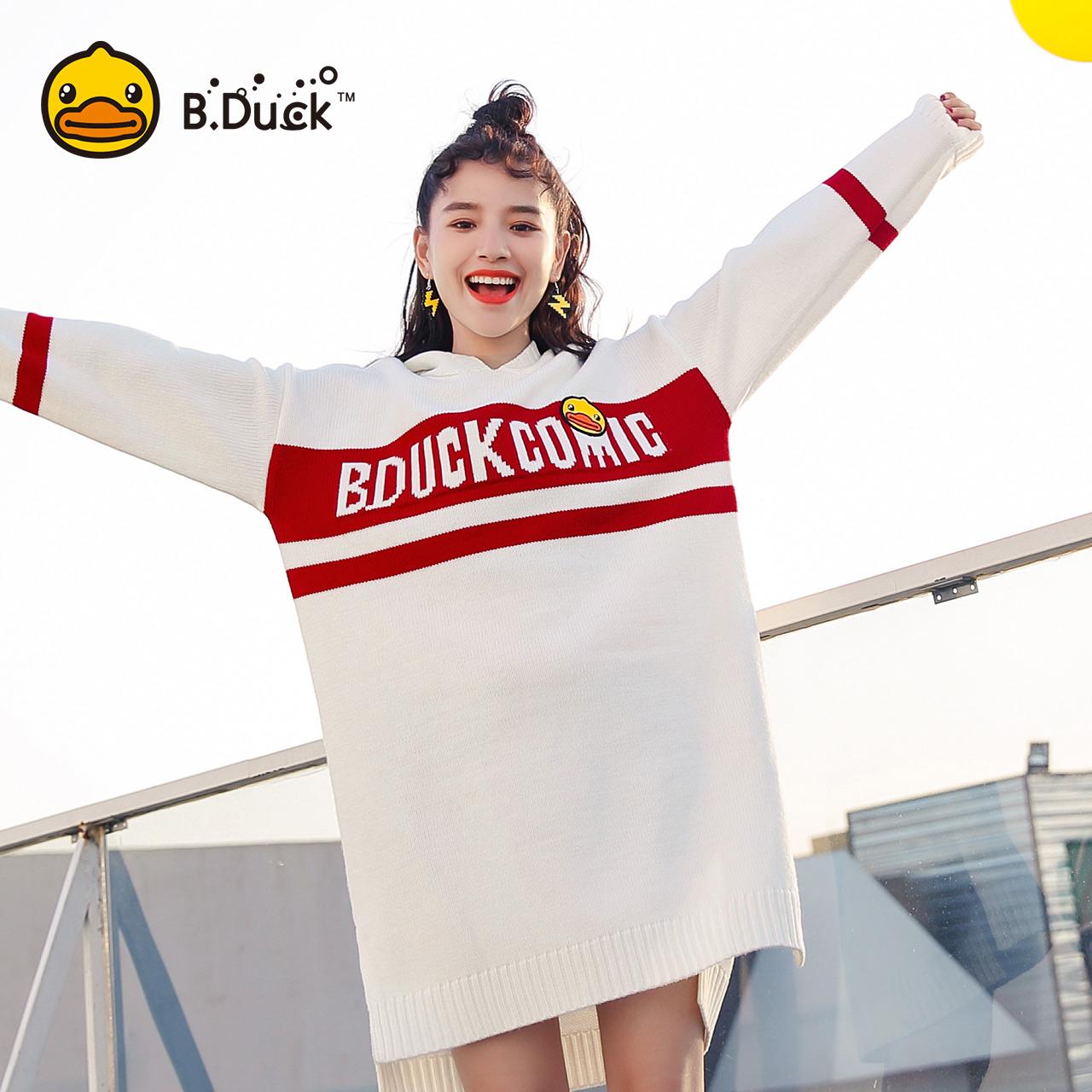 BDuck nhỏ màu vàng vịt Comics áo len nữ 2018 mùa thu mới trùm đầu áo thun lỏng áo len dài