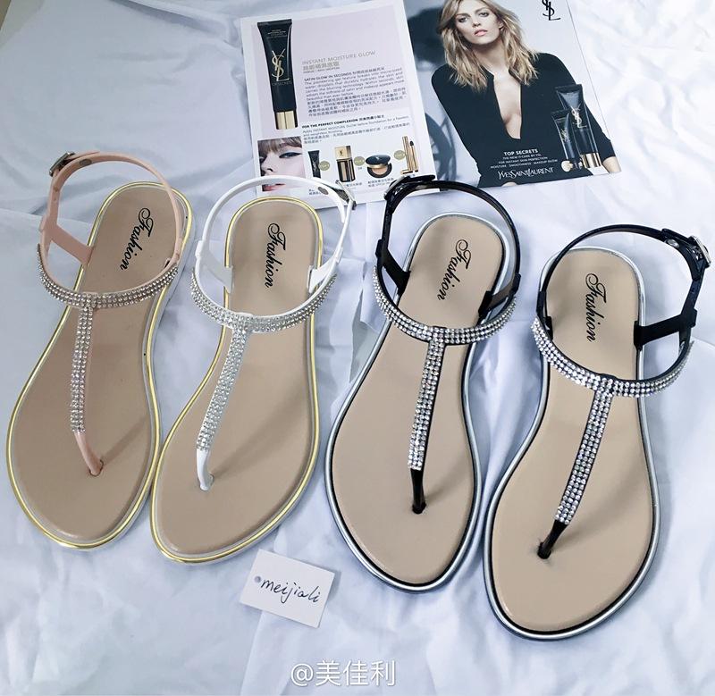 2017年新款夏季夹脚平底罗马鞋v水钻水钻防滑平跟沙滩鞋女士凉鞋潮