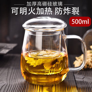 Glass cup with lid thickening home tea cup flower cup office cup filter cup of tea isolated children