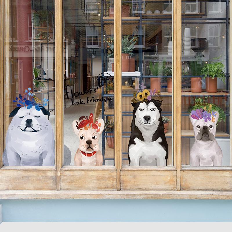 创意狗狗墙壁贴画儿童床头卧室装饰品墙贴宠物店宿舍墙面玻璃门贴