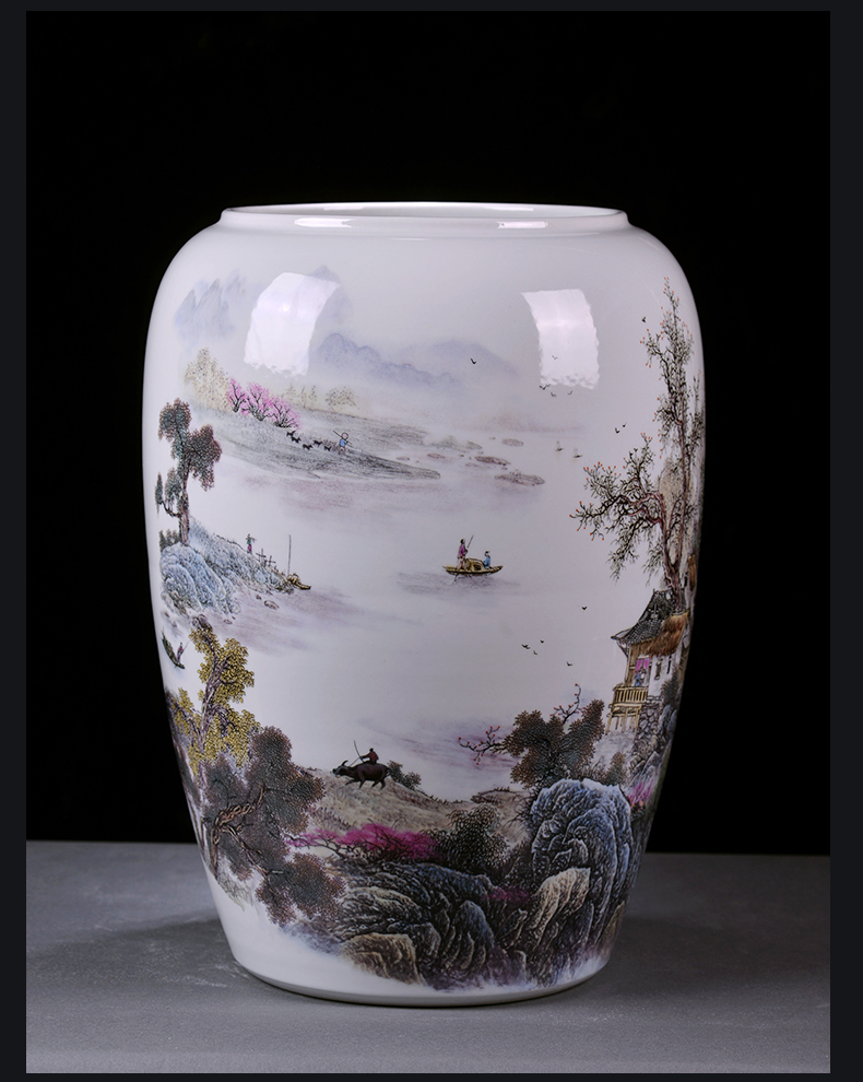 Jingdezhen ceramics painting and calligraphy tube scroll cylinder quiver powder enamel vase landed study sitting room adornment is placed