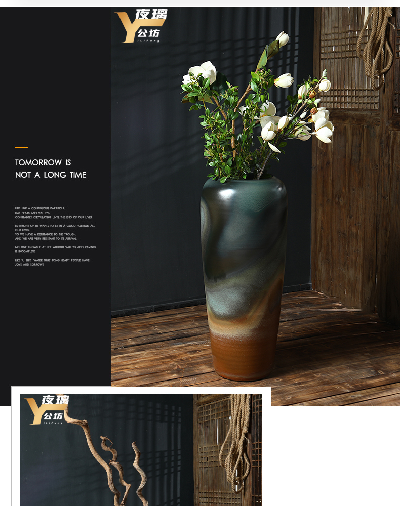 Jingdezhen Chinese vase landing living room place dry flower arranging flowers screen porch hotel decoration creative furnishing articles