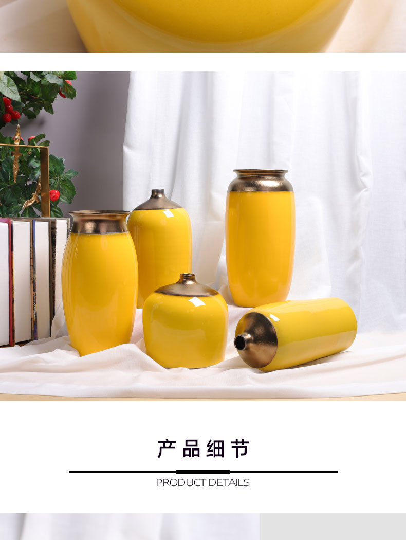 Pure color office Nordic light key-2 luxury furnishing articles yellow ceramics contracted vase set of sunflowers desktop decoration