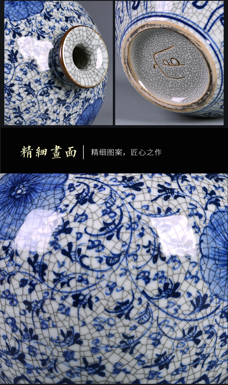 Chinese antique blue and white porcelain of jingdezhen ceramic vase household flower arrangement sitting room adornment rich ancient frame TV ark, furnishing articles