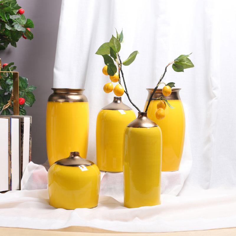 纯色花瓶办公室北欧轻奢陶瓷摆件黄色简约插向日葵花桌面摆设套组