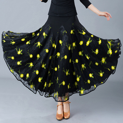 Adult Ladies Modern Dance Skirt Waltz Ballroom Dance Practice Show Half-length Dress
