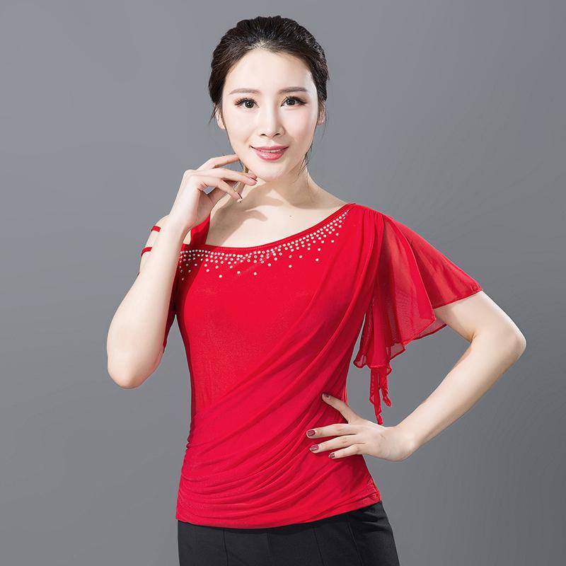 Adult Female Modern Dance Dress Short-sleeved Top Latin National Standard Dance Dress Half-bodice