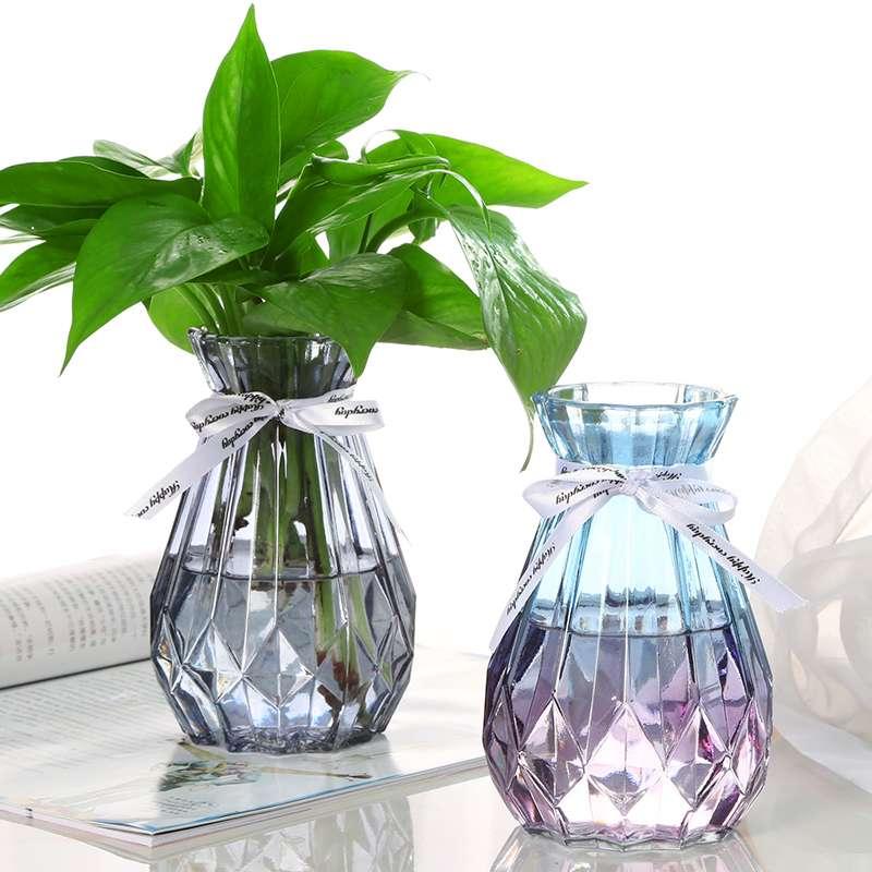 水培植物绿萝花瓶小简约创意玻璃透明彩色干花风信子观音竹插花瓶_领取2元淘宝优惠券