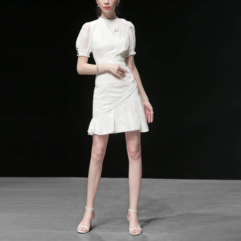 夏装2019新款女装气质修身短袖雪纺裙子收腰显瘦中长款白色连衣裙