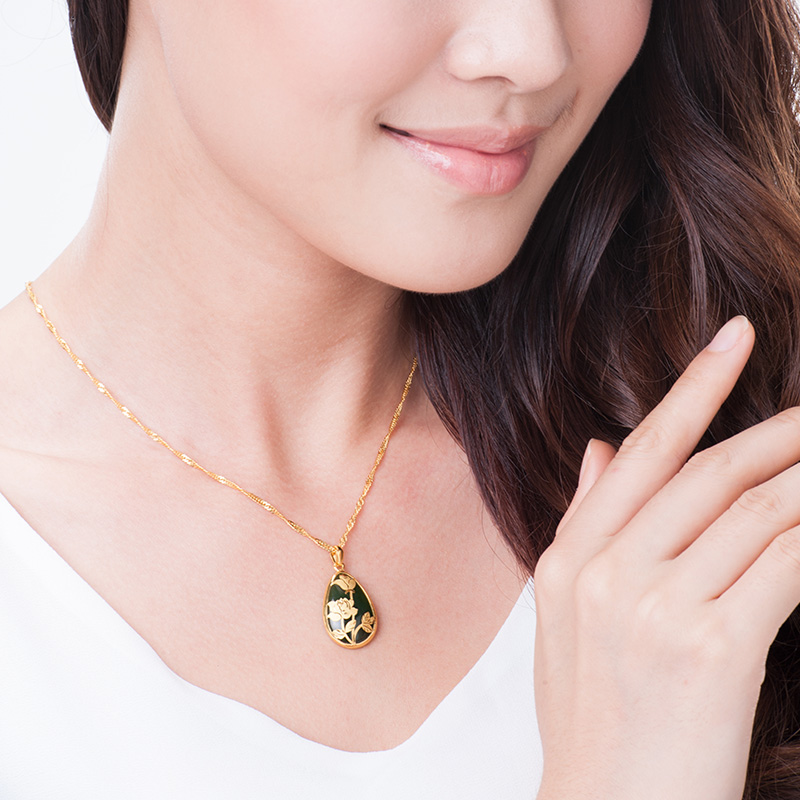 Acer acer rich flower bloom hetian jade gold necklace pendant gold acer acer rich flower bloom hetian jade gold necklace pendant gold inlaid female gold b mozeypictures Image collections