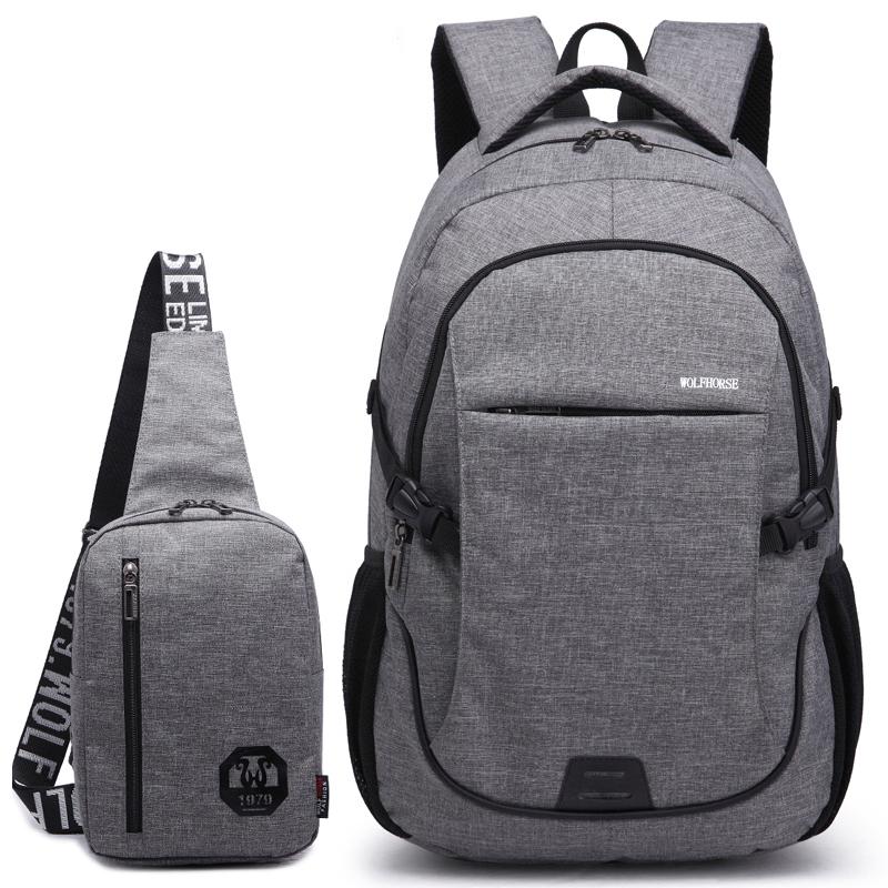 男士双肩包休闲旅行包运动背包韩版潮女电脑包时尚大中学生书包男