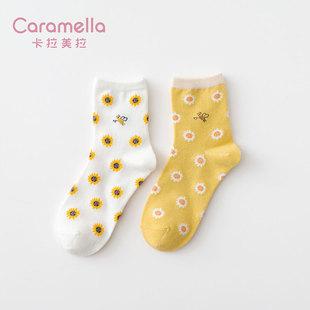 Caramella女生冬季中筒袜8双