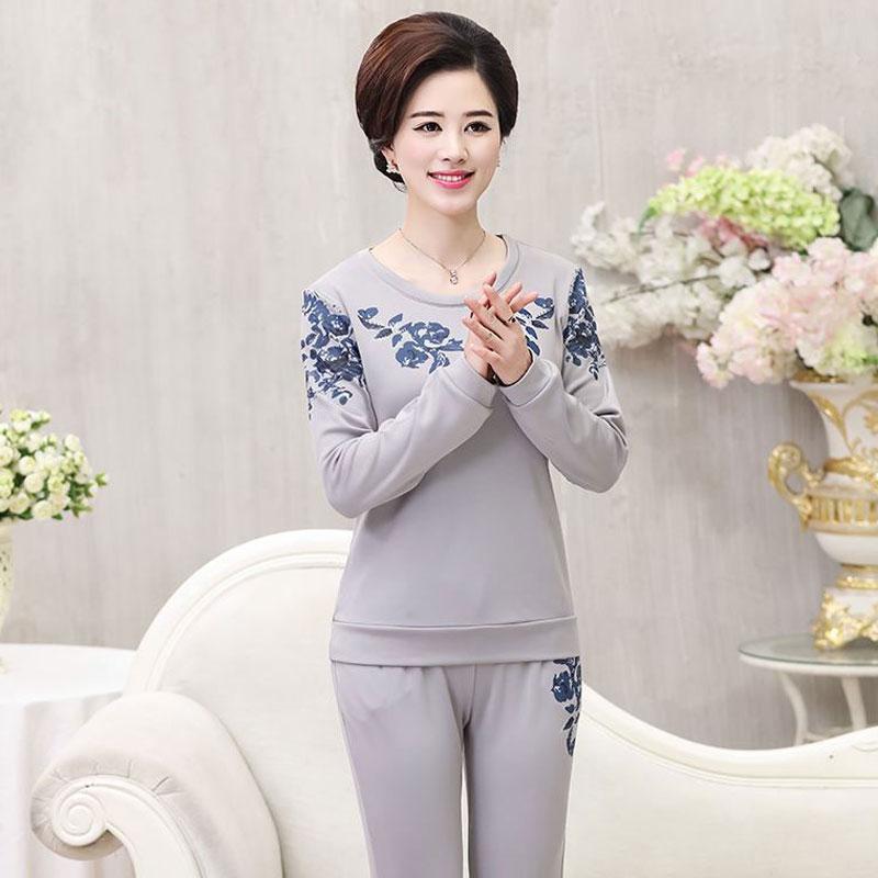 中年女裝秋裝新款兩件套40-50歲女士媽媽裝春秋休閑運動加絨套裝