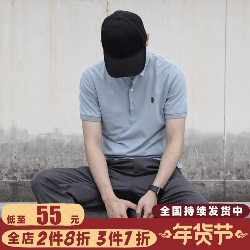 作梦家夏季原创设计修身趣味刺绣仙人掌翻领Polo衫男短袖T恤潮