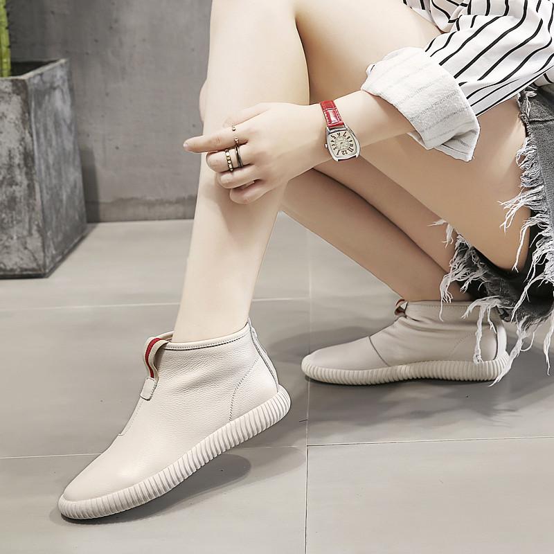 港风ulzzang街拍女鞋靴子2020新款女牛皮短靴平底真皮高帮鞋女夏