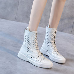 Hong Kong style ulzzang hole high-top shoes 2021 new women's boots hollow women's shoes flat leather sandals female fish mouth