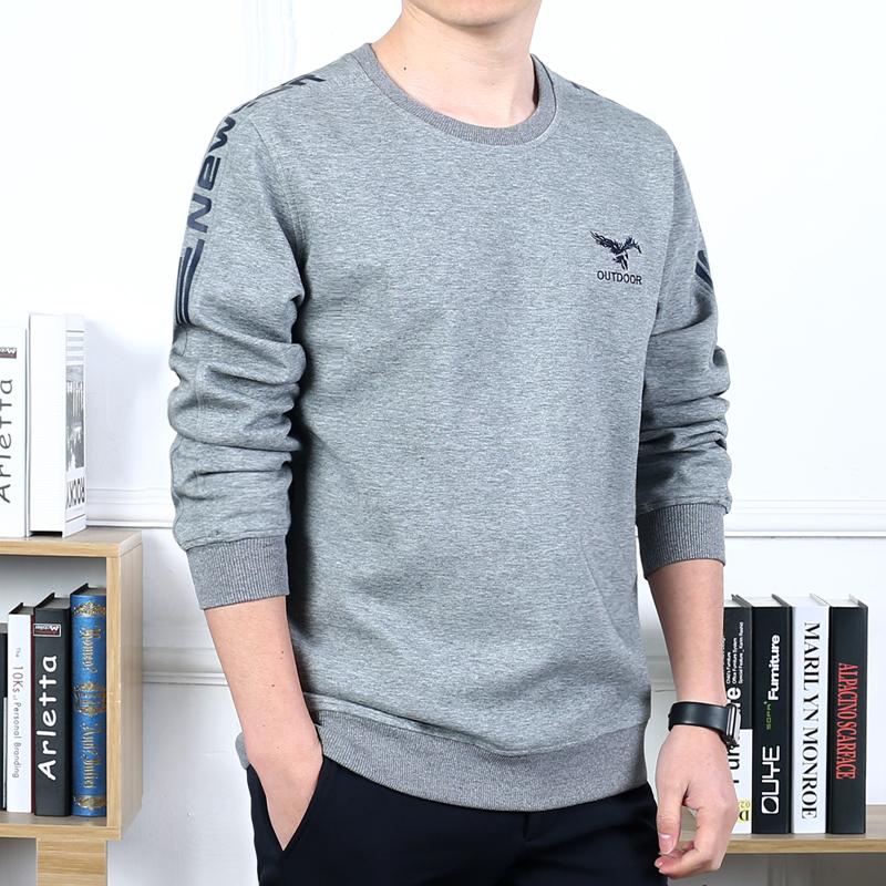 吉普盾春秋男装薄T恤冬季加绒加厚长袖T恤运动圆领体恤衫套头卫衣