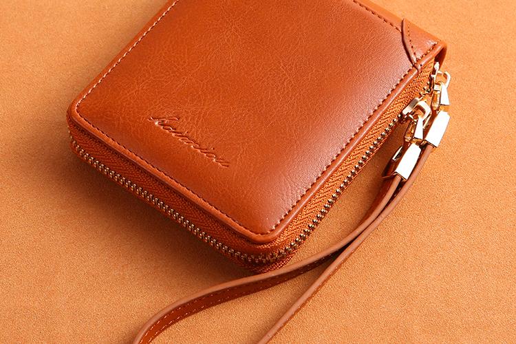 潮对折护腕拉炼钱包卡包一体女短款多功能钱夹女软皮零钱包详细照片