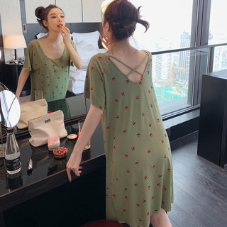 Summer sleeping skirt female modal cotton thin section sweet short-sleeved pajamas miniature revealed back spring and autumn long dress