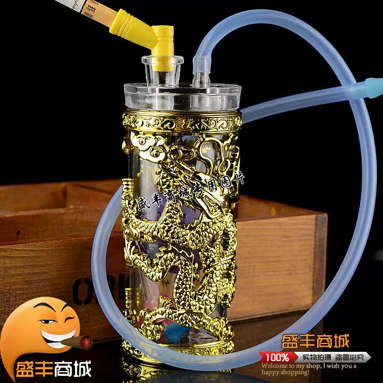 特价包邮DIY静音便携式亚克力水烟壶,烧锅玻璃弯头全套配件齐全