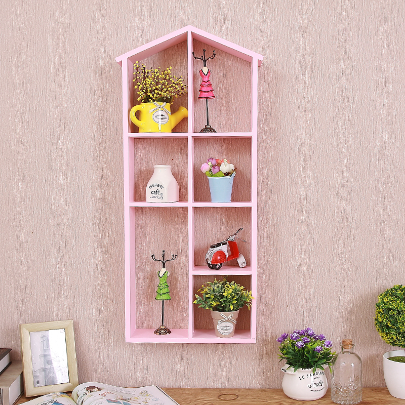 No drilling solid wood put doll shelf bedroom living room wall ...