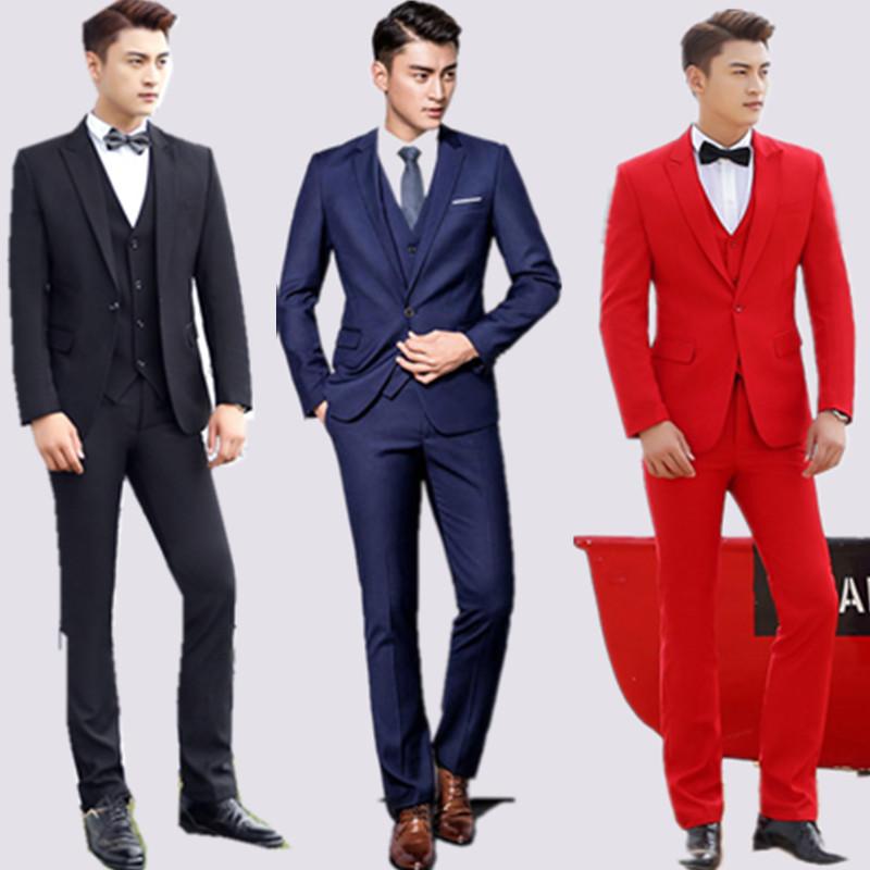 西服套装男青年修身礼服三件套主持人帅气演出伴郎服装兄弟团西装