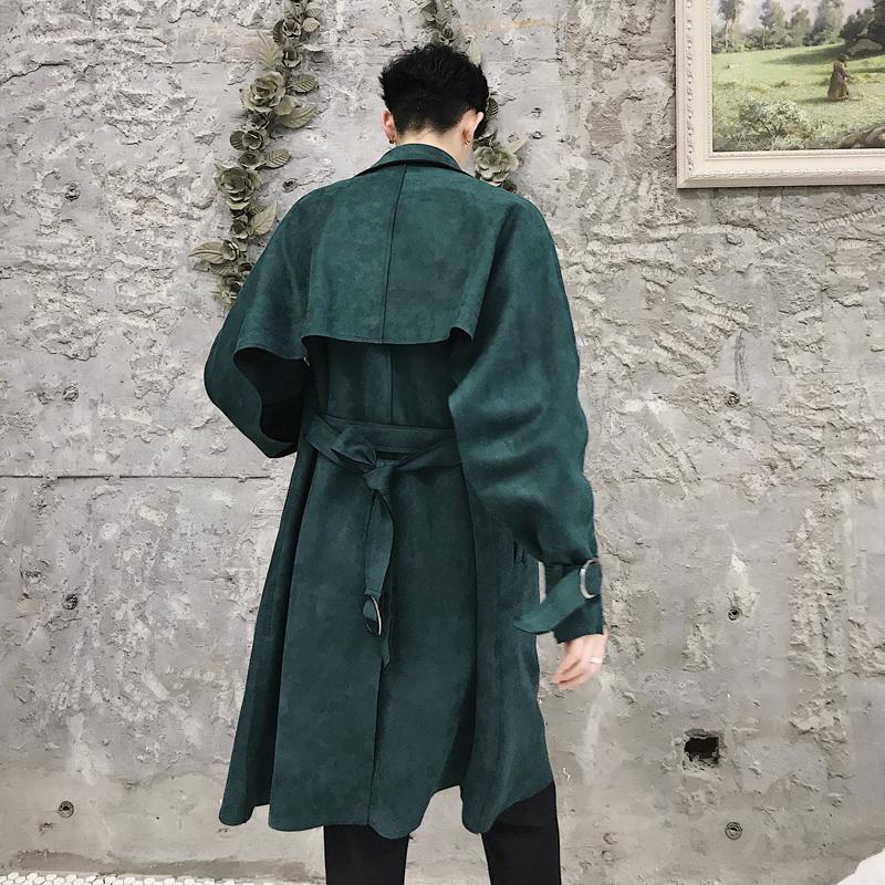 百搭无扣风衣chic蝙蝠袖麂皮绒宽松纸片人ulzzang春秋设计师韩国