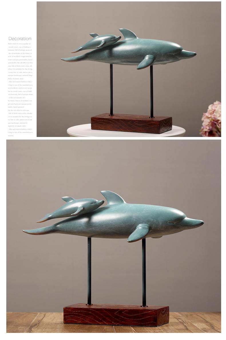 〖洋碼頭〗歐式客廳大擺件裝飾品家居玄關電視櫃個性創意海豚送閨蜜結婚禮物 hbs332