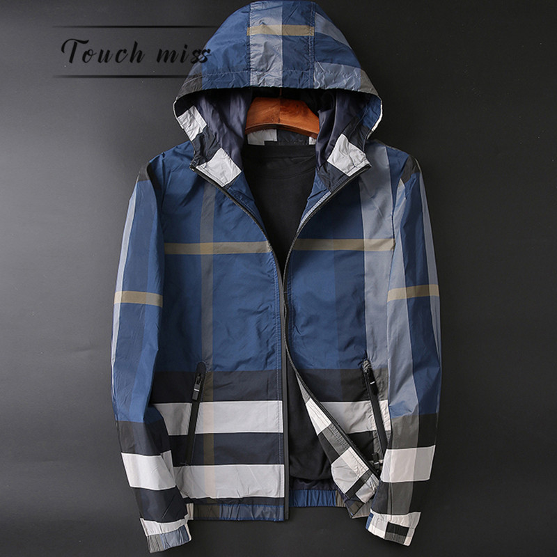 TOUCH MISS Japanese luxury men's lightweight Slim large size plaid hooded jacket fashion jacket thin section