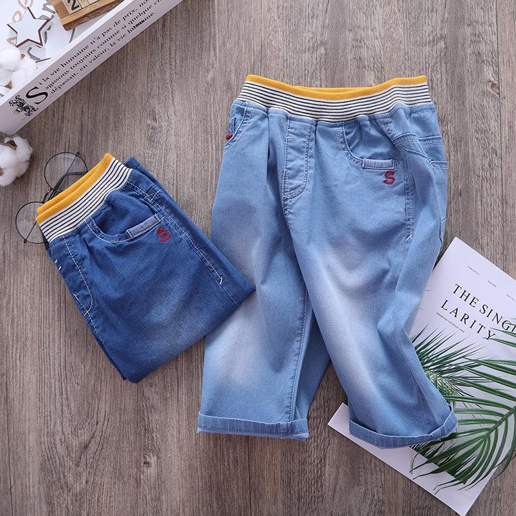 夏款男童弹力薄款品质七分裤中大儿童纯棉牛仔中裤男孩过膝7分裤