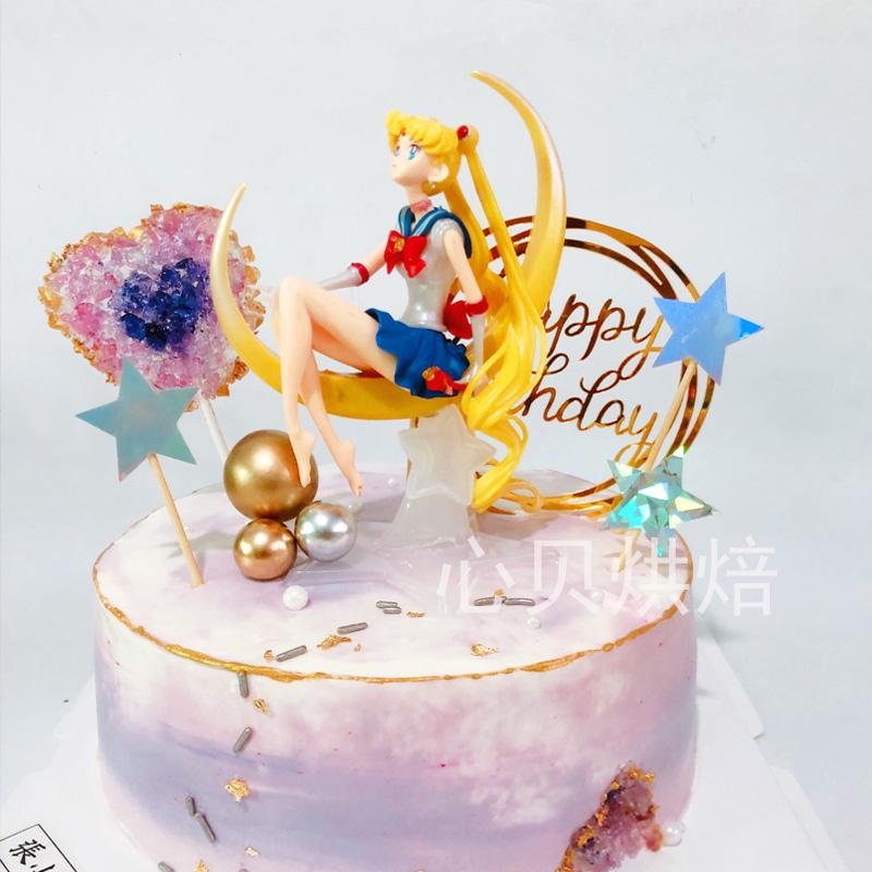 Surprising Baking Birthday Cake Decoration Ornaments Sailor Moon Theme Cake Personalised Birthday Cards Paralily Jamesorg