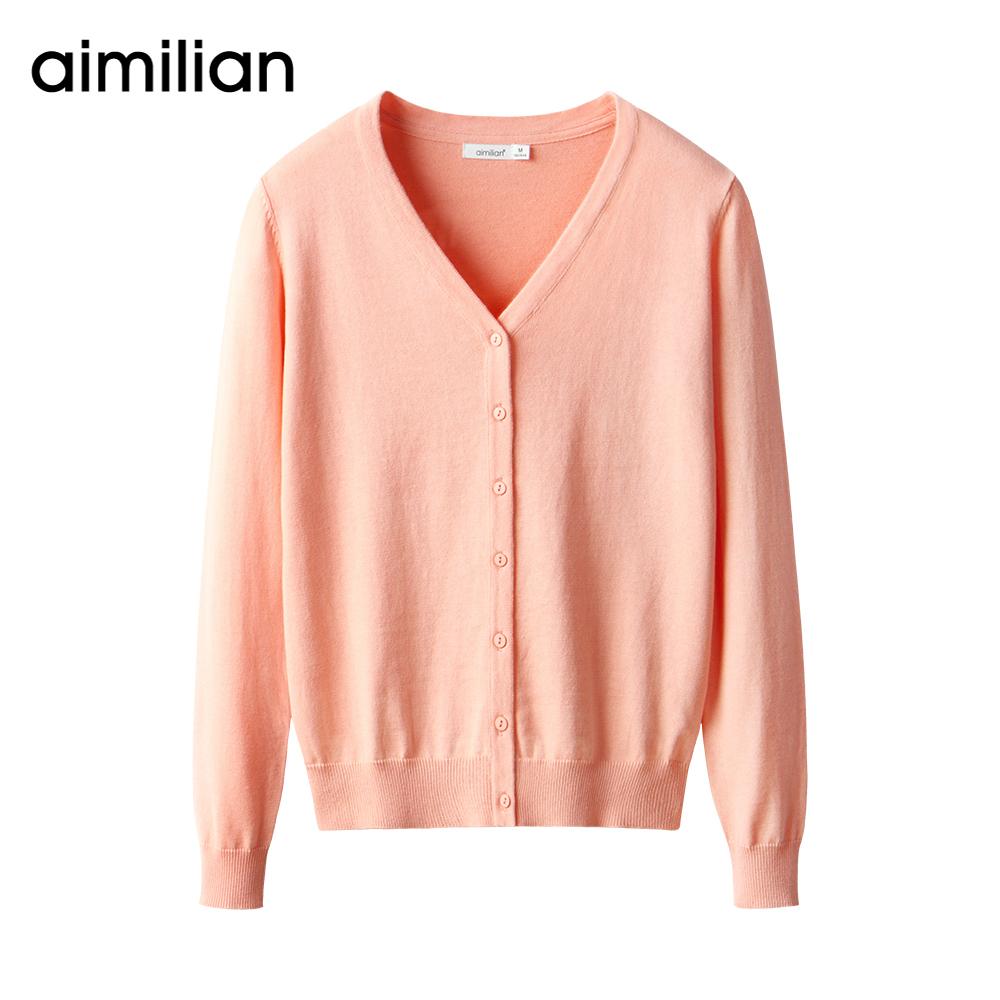 艾米恋针织开衫空调女夏新短款V领薄款上衣外搭修身外套长袖毛衣