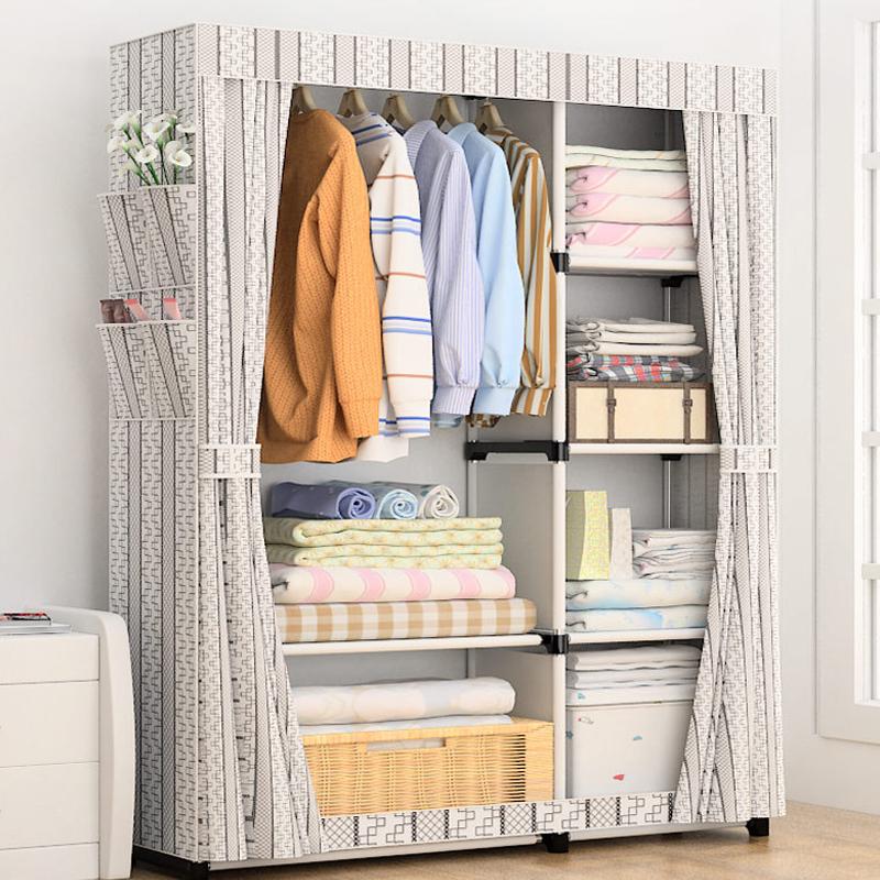 简易衣柜布艺组装钢管加固简约现代经济型钢架收纳柜经济型布衣橱
