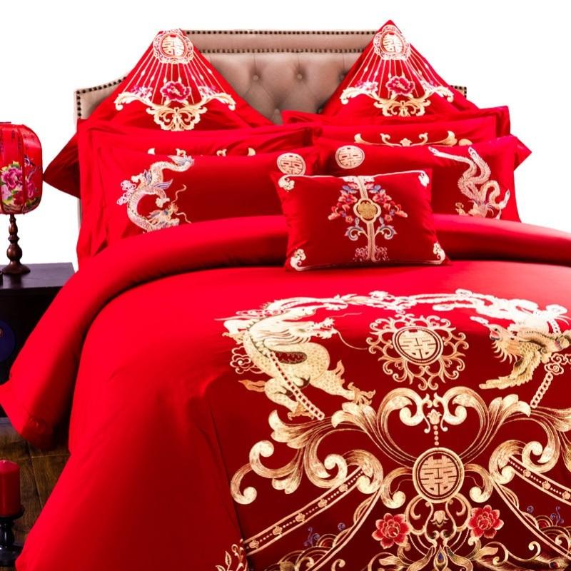 罗霓欧绒棉婚庆刺绣四件套结婚