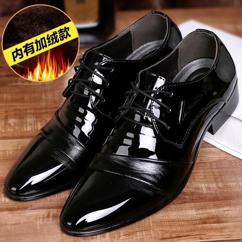皮鞋男英伦尖头系带韩版青年男鞋加绒2019新款男士商务正装鞋子