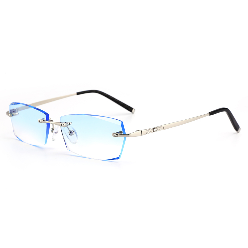 With glasses male 0-1000 degrees finished fashion rimless glasses ...